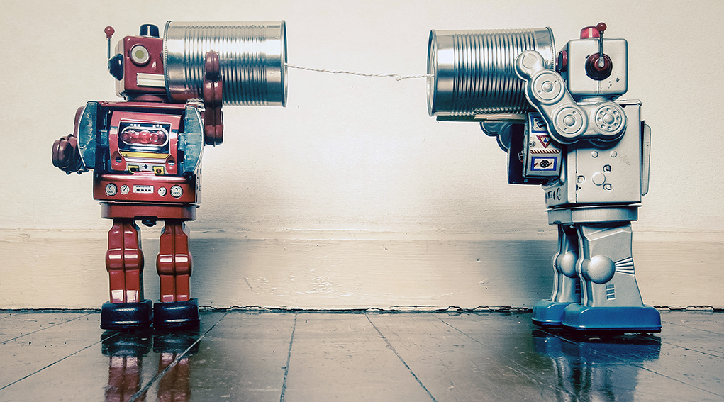 Robots talking to each other via tin can phones